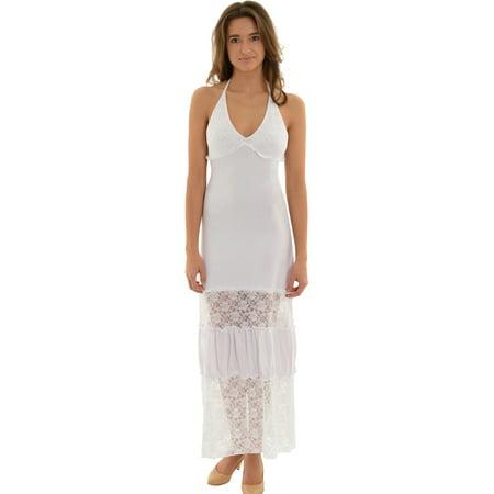 Womens White Maxi Dress Lace and Ruffle Detail Little White - White Ruffle Maxi Dress