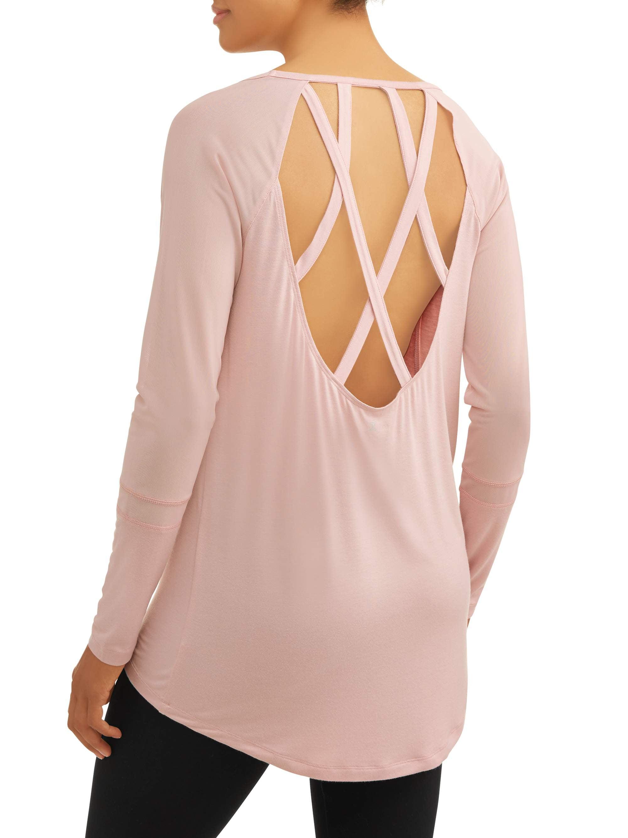 Danskin Women's Premium Active Hi-Lo Lattice Back Raglan Tunic