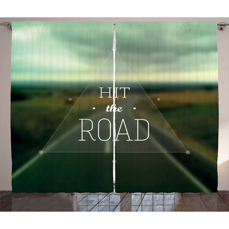 Adventure Curtains 2 Panels Set, Hit the Road Quote inside a Transparent Triangle with Blurred Highway Background, Window Drapes for Living Room Bedroom, 108W X 90L Inches, Multicolor, by (Highway Triangle)
