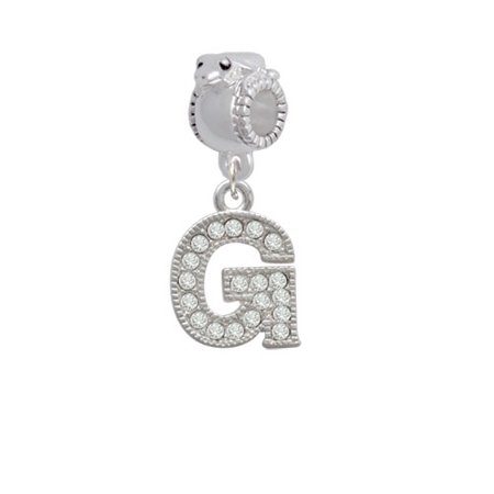 Crystal Initial - G - Beaded Border - Frog Charm Bead