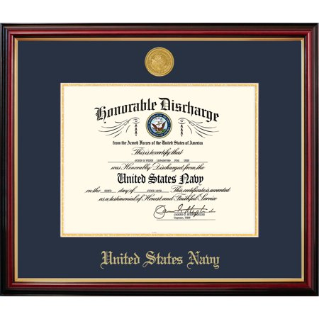 Medallion Picture Frame (Patriot Frame's Navy 8.5x11 Discharge Petite Frame with Gold)