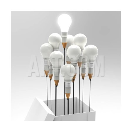 Drawing Idea Pencil And Light Bulb Concept Outside The Box As Creative Print Wall Art By everythingpossible - Creative Art Ideas For Halloween