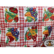 """Polycotton Printed TARTAN FRUITS WHITE Fabric / 60"""" Wide / Sold by the Yard"""