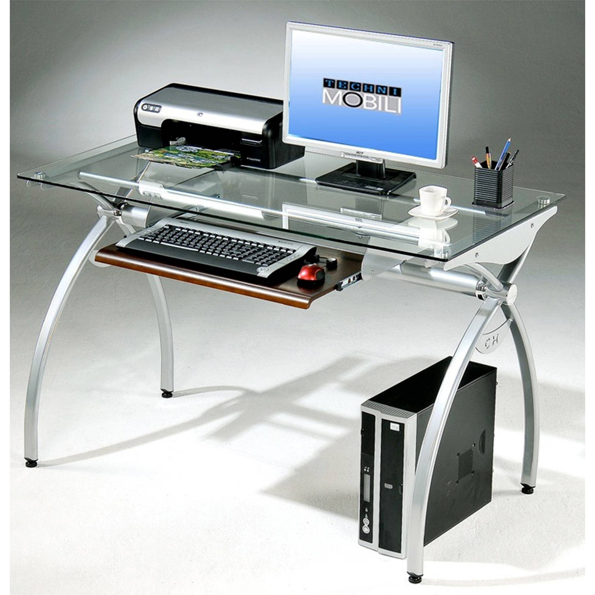 Techni Mobili Modern Clear Glass Top Computer Desk With Pull Out Keyboard Tray, Clear