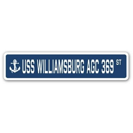 USS WILLIAMSBURG AGC 369 Street Sign us navy ship veteran sailor - Williamsburg Halloween