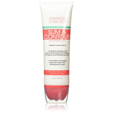 Advanced Clinicals Slim & Contour Sculpting Gel. Massaging Gel with Applicator for Tummy, Hips, Thighs, Upper Arms, Body. With Capsaicin, Coffee Bean Oil, and Seaweed. 8oz tube. (Gal Massage Oil)