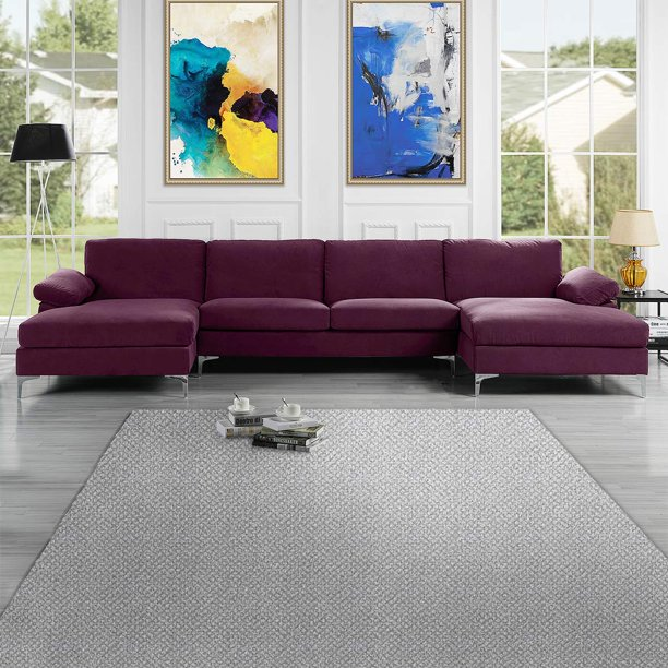 Mobilis Modern Large Microfiber Velvet Fabric U-Shape Sectional Sofa with Double Extra Wide Chaise Lounge, Purple