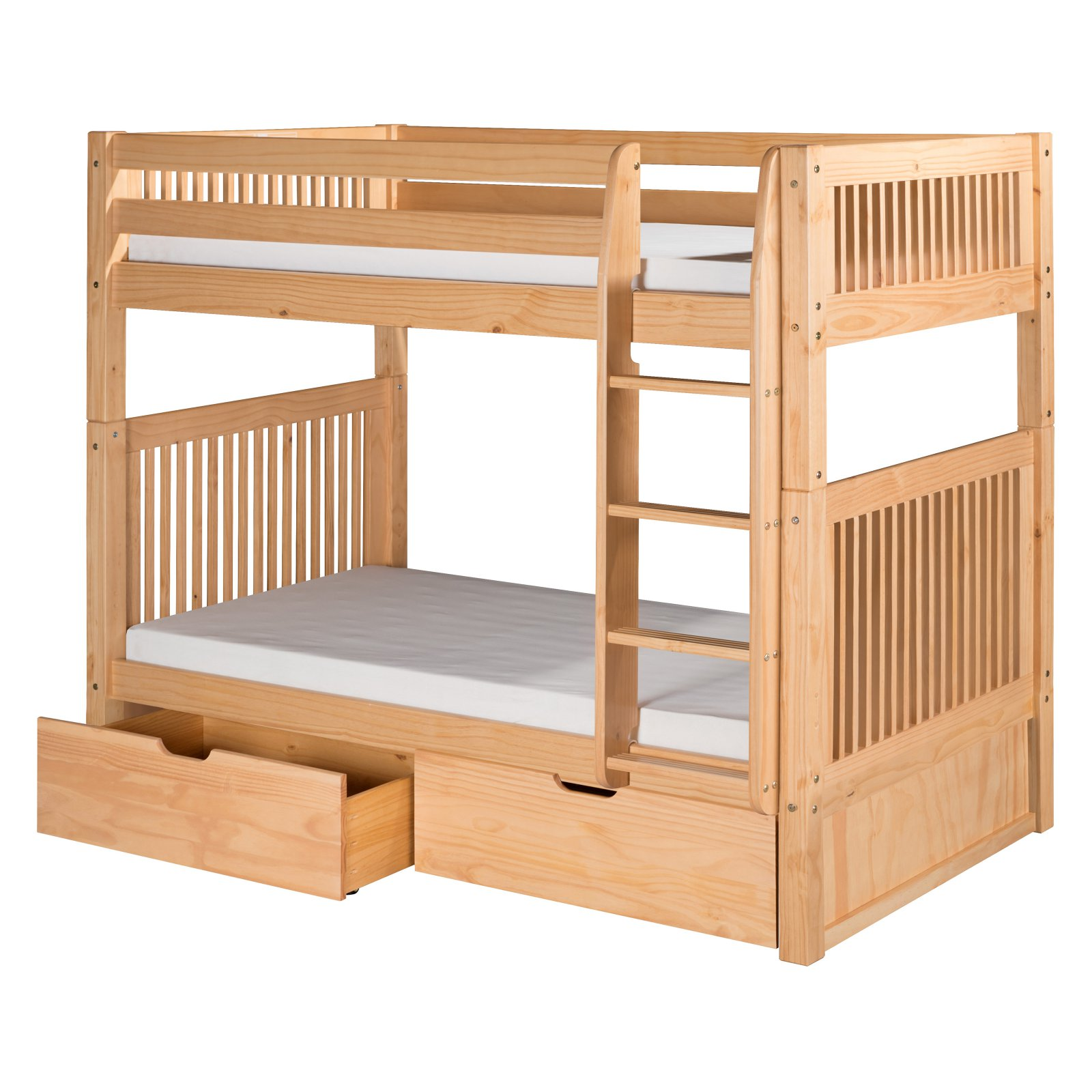 Camaflexi Twin over Twin Bunk Bed - Mission Headboard - Natural Finish