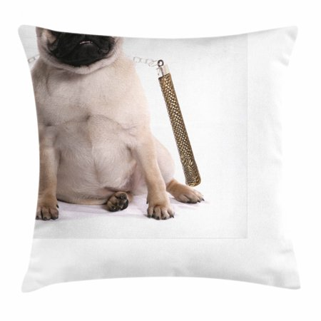 Pug Throw Pillow Cushion Cover, Ninja Puppy with Nunchuk Karate Dog Eastern Warrior Inspired Costume Pug Image, Decorative Square Accent Pillow Case, 16 X 16 Inches, Cream Black Gold, by Ambesonne