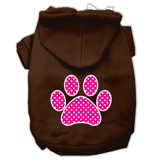 Pink Swiss Dot Paw Screen Print Pet Hoodies Brown Size Sm (10) - image 1 de 1