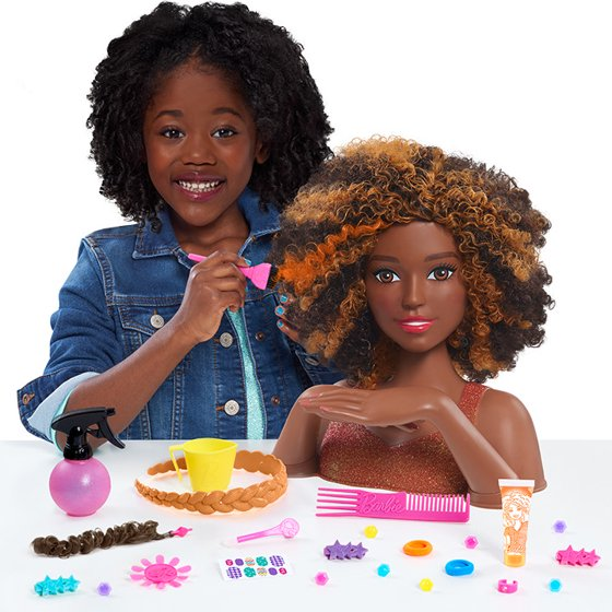 Barbie Color Style Deluxe Styling Head Curly Hair Walmartcom