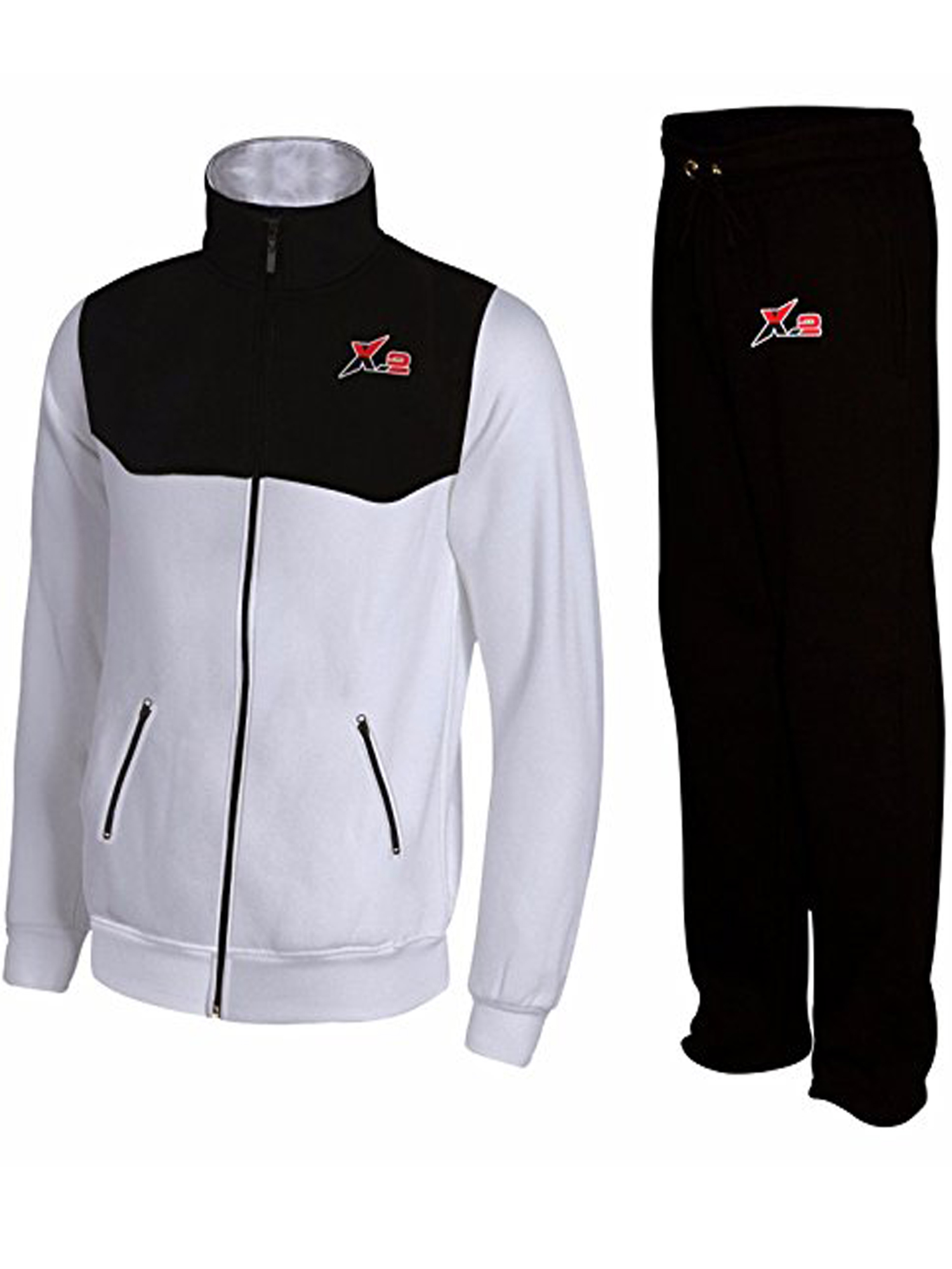 X-2 Mens Athletic Activewear Full Zip Fleece Tracksuit Jogging Sweatsuit