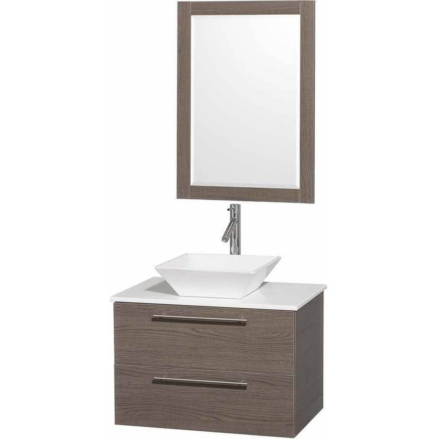 Wyndham Collection Amare 30 inch Single Bathroom Vanity in Gray Oak with White Man-Made Stone Top with White Porcelain Sink, and 24 inch Mirror