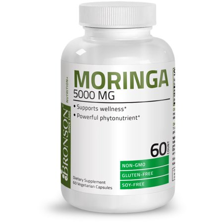 Moringa Oleifera 5000 mg Powder Capsules Extra High Potency Energizing Superfood Antioxidant, 60 Vegetarian (Energizing Antioxidant)