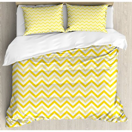 Ambesonne Chevron Abstract Zig Zag Pattern Striped Cool Geometric 90s Style Art Duvet Cover Set ()