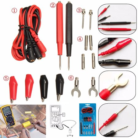 M.way 16Pcs/1set Electronic Test Leads Kit, Multifunction Digital Multimeter Leads with A lligator Clips, Test Probe Cable Wire Pin Tool Digital Multimeter Probe