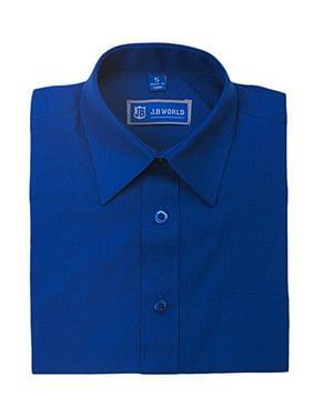 JB World Boys Royal Blue Long Sleeve Button Front Uniform Dress Shirt