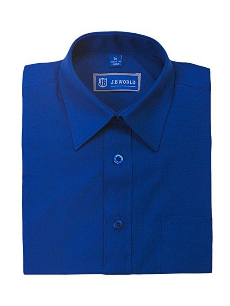 JB World Boys Royal Blue Long Sleeve Button Front Uniform Dress Shirt