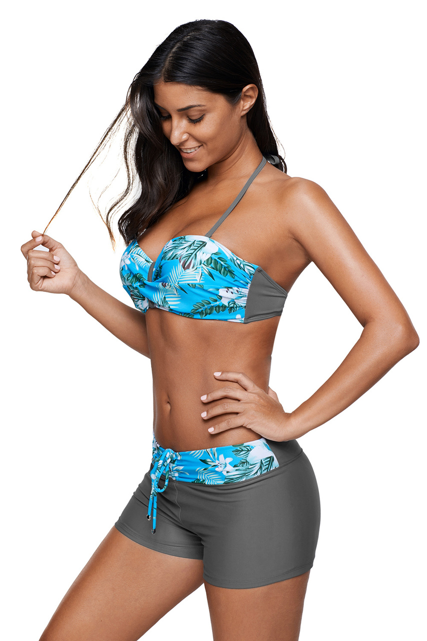 Juniors' Swimsuit Celebrity Light Blue Print Twist Front Bikini and Boardshort Swimsuit