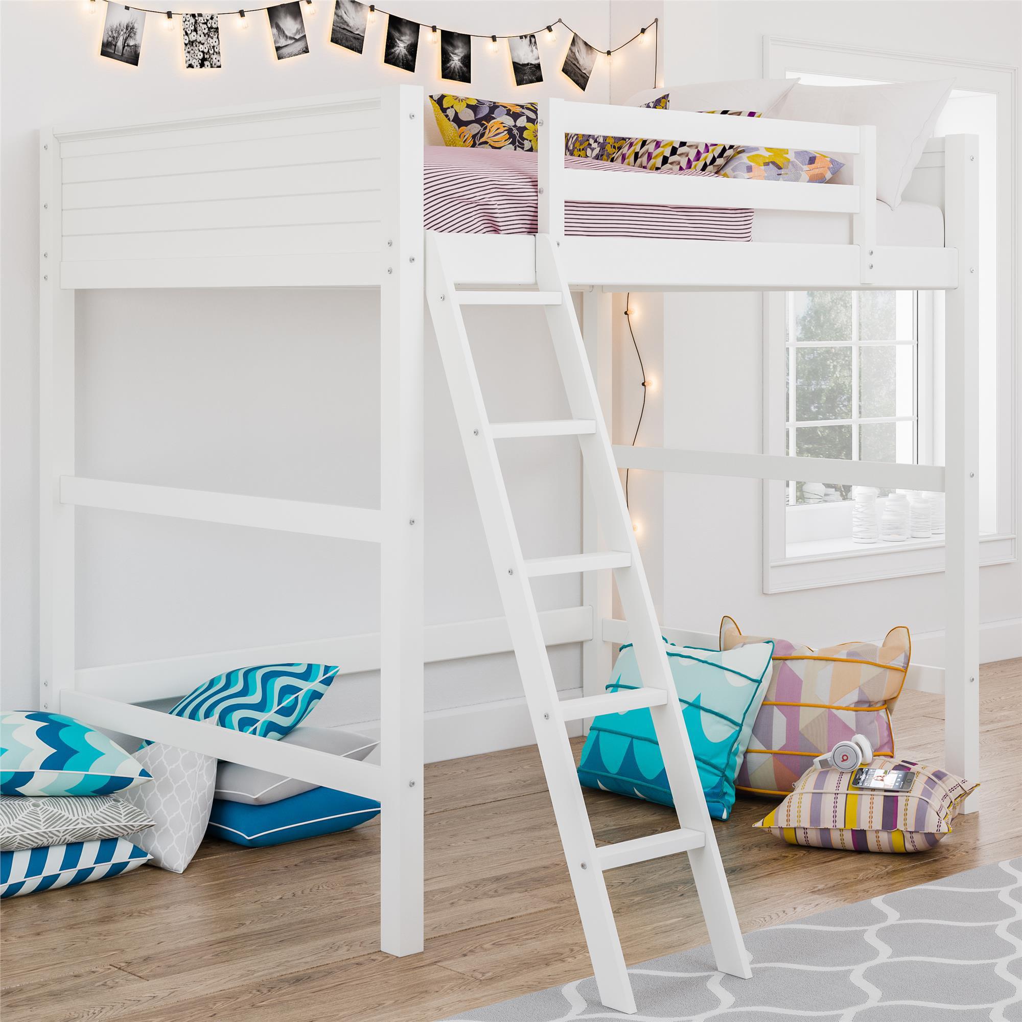 Your Zone Kids Wooden Loft Bed With Ladder Full White Walmart Com Walmart Com