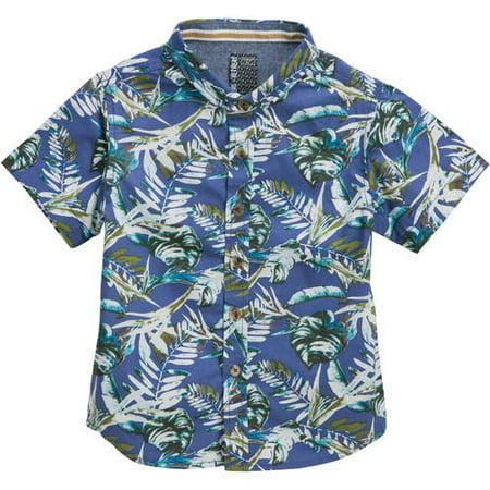 Toddler Boys' Palm Print Short Sleeve Woven Shirt