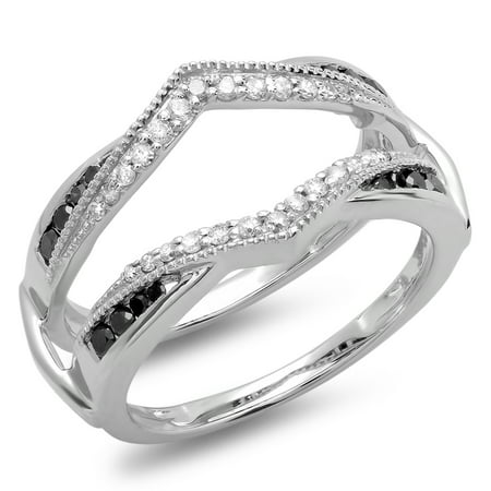 Dazzlingrock Collection 0.50 Carat (ctw) 10K Black & White Diamond Ladies Wedding Guard Double Ring 1/2 CT, White Gold, Size 8.5