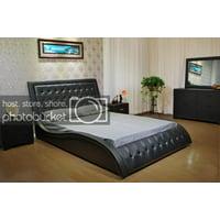 Greatime B1136-2 Wave-like Shape Upholstered Modern Platform Bed, Queen, Black