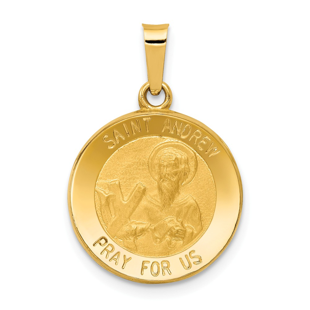 14k Yellow Gold Polished and Satin St. Andrew Medal Pendant