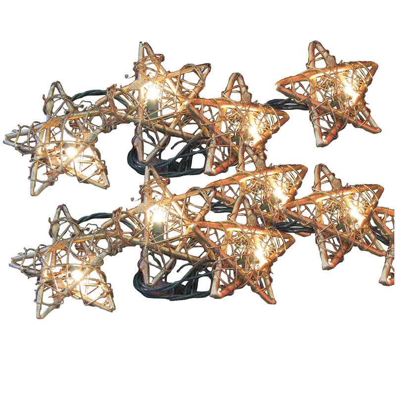 Kurt Adler Golden Rattan Star 10 ct. Light Set