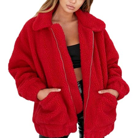 Long Boyfriend Jacket (Women's Lapel Long Sleeve Faux Shearling Coat Winter Boyfriend Winter Faux Coat , Red)