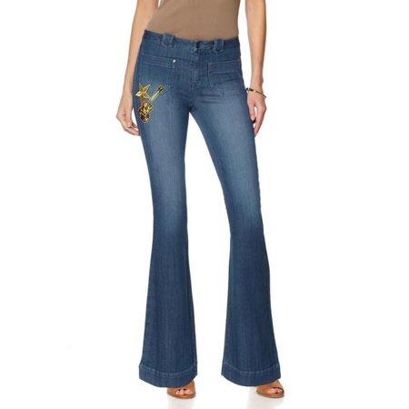 Indigo Striped Jeans - Sheryl Crow Flare Jean Indigo Denim 531-452