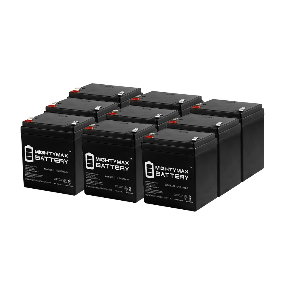 ML5-12 - 12V 5AH Wheelchair Medical Mobility Rechargeable SLA AGM Battery - 9 Pack