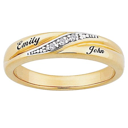personalized womens diamond accent 10kt gold engraved name wedding ring - Personalized Wedding Rings