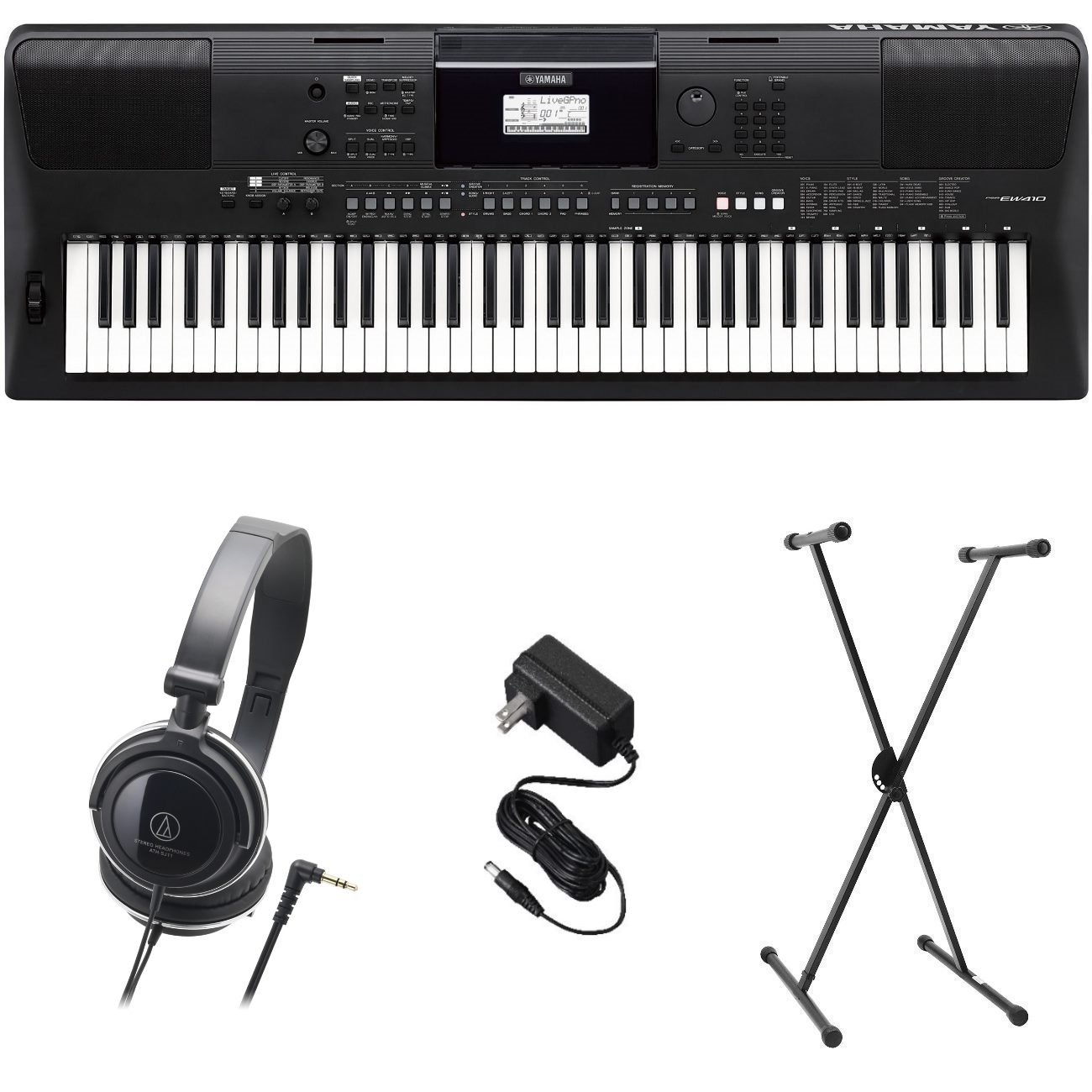 Yamaha PSR-EW410 PKS Premium Keyboard Pack with Power Supply, Stand, and Headphones