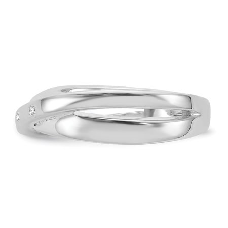 SS White Ice .03ct. Diamond Crossover Ring Size 7 - image 2 de 3