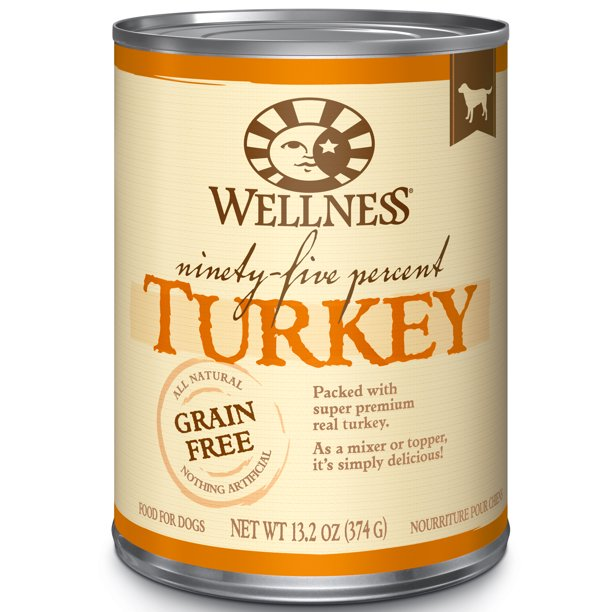 Wellness 95% Turkey Natural Wet Grain Free Canned Dog Food, 13.2-Ounce Can (Pack of 12)