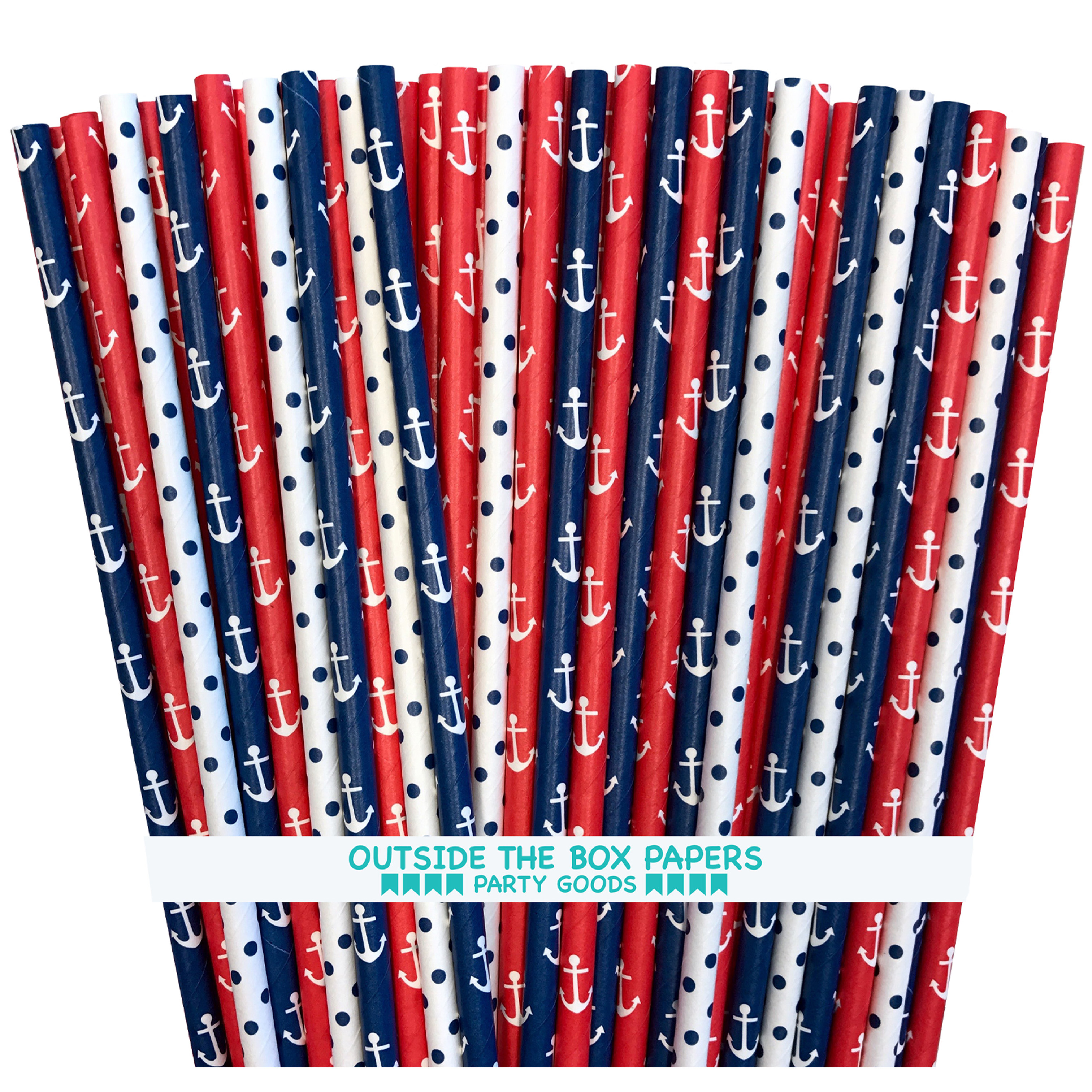 Red, White and Blue Anchor and Polka Dot Paper Straws 75 Pack