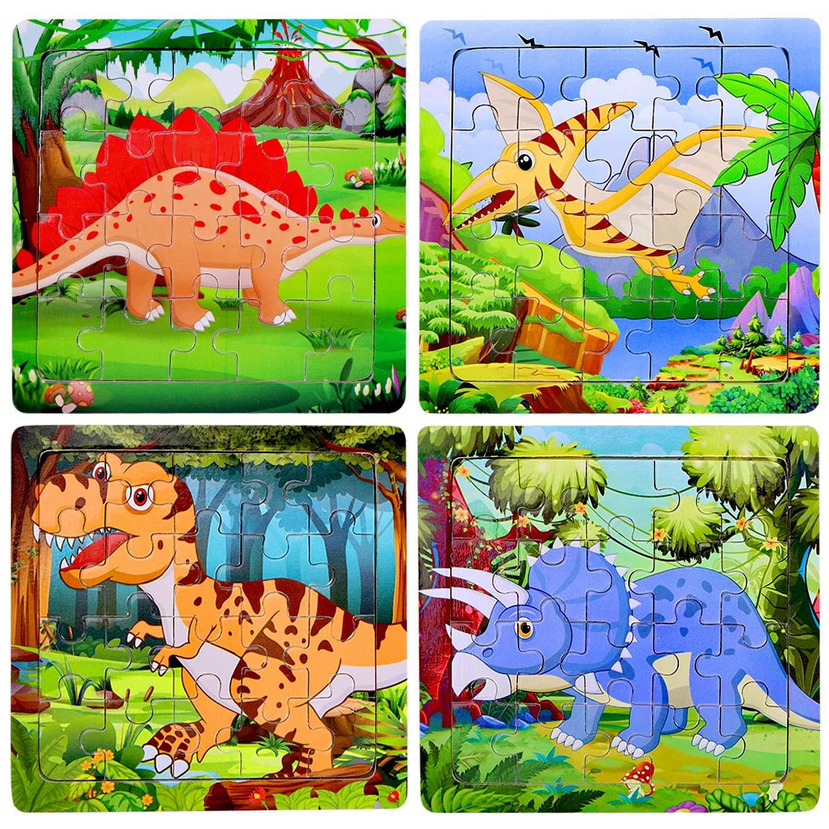 LOYALSE 2 Pack Wooden Puzzles 60 Pieces Puzzles for Kids 4-8 Years Old Dino Toys Surprise Easter Dino Egg Puzzles Jigsaw Puzzle Boys Girls Gift Kids Dinosaur Puzzle with Easter Egg