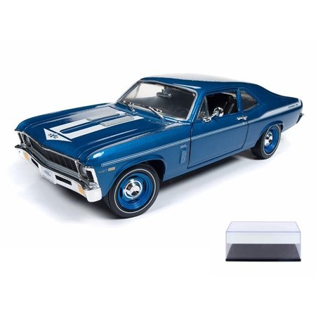 - Diecast Car & Display Case Package - 1969 Chevy Nova, Blue w/white stripes - Auto World AMM1135 - 1/18 Scale Diecast Model Toy Car w/Display Case