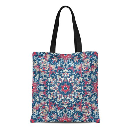 LADDKE Canvas Tote Bag Beige Abstract Boho Flower Tiled Mandala Best More Batik Durable Reusable Shopping Shoulder Grocery