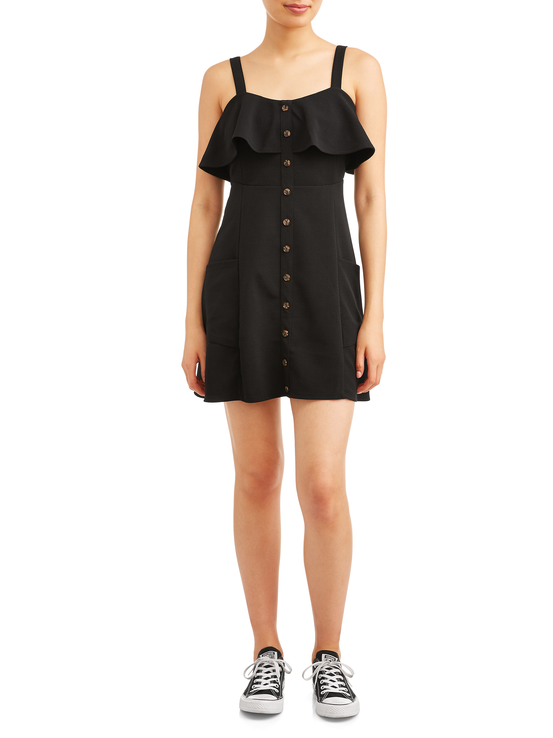 Juniors' Button Front Dress with Pockets