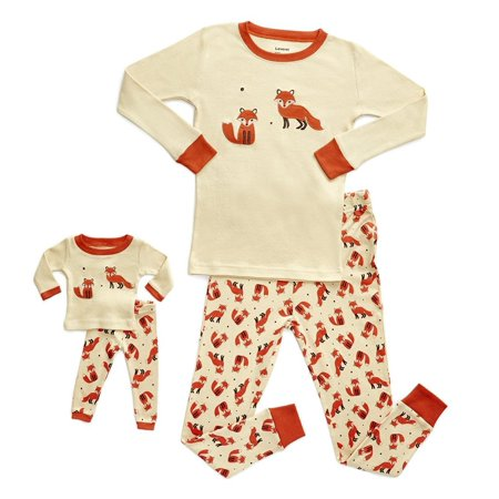 b45a91b33bd9 Leveret - Leveret Fox Matching Doll   Girl 2 Piece Pajama Set 100 ...