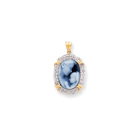 14K Yellow Gold Cameo And Diamond Mother And Baby Halo Style Charm Pendant   13X18mm