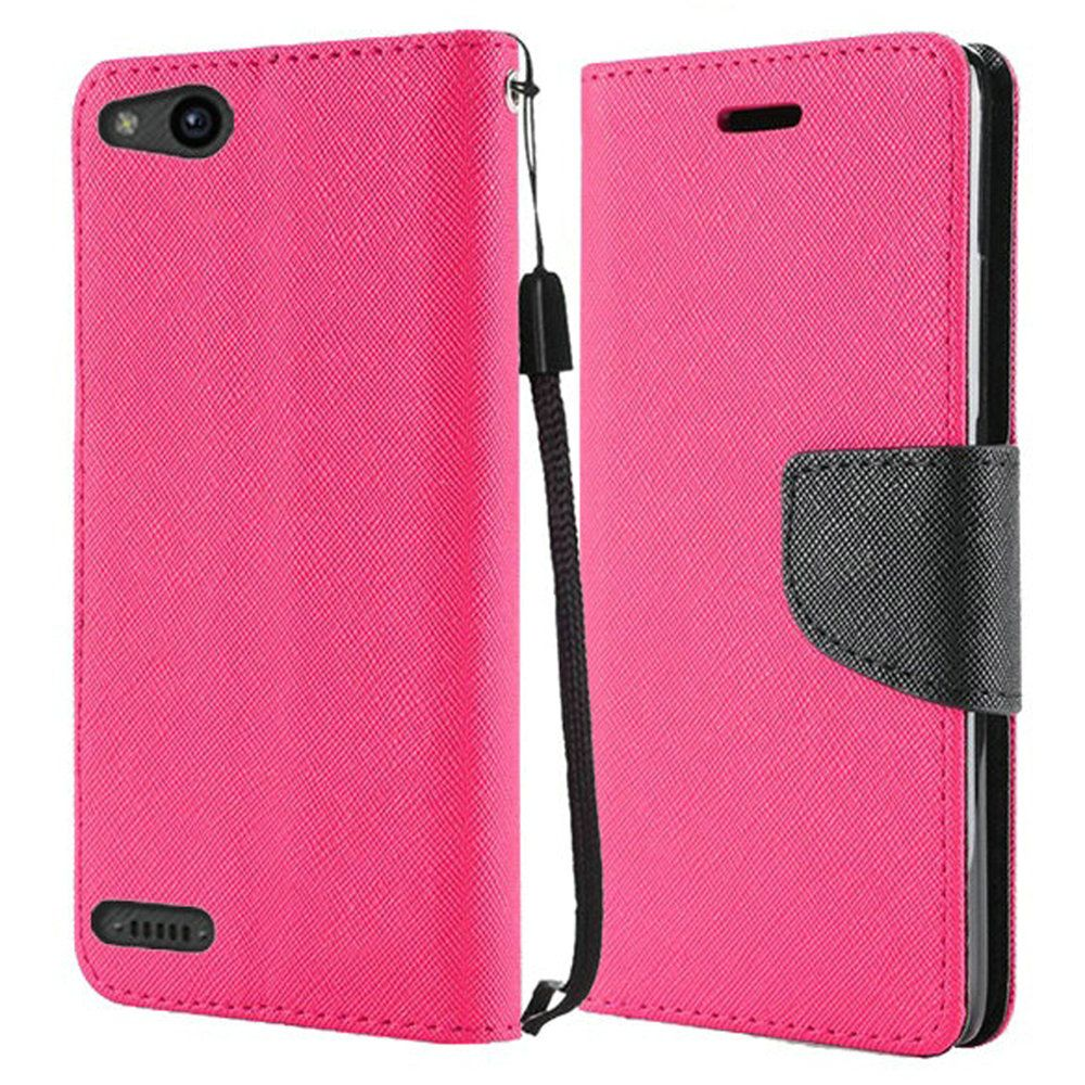 ZTE ZFive G LTE Z557BL Case - Synthetic PU Leather Wallet Carrying Holder Pouch Case [Card Slots | Bill Fold] with Magnetic Flip Closure Cover - [Hot Pink] and Atom Cloth