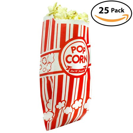 Popcorn Bags. Coated for Leak/Tear Resistance. Single Serving 1oz Paper Sleeves in Nostalgic Red/White Design. Great Movie Theme Party Supplies or for Old Fashioned Carnivals & Fundraisers! (25) (Great Party Ideas For Adults)