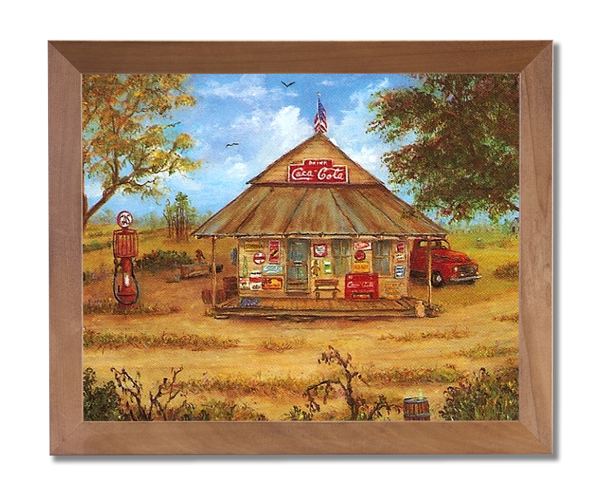 Pals Old Country Store Folk Kitchen Wall Picture Honey Framed Art Print