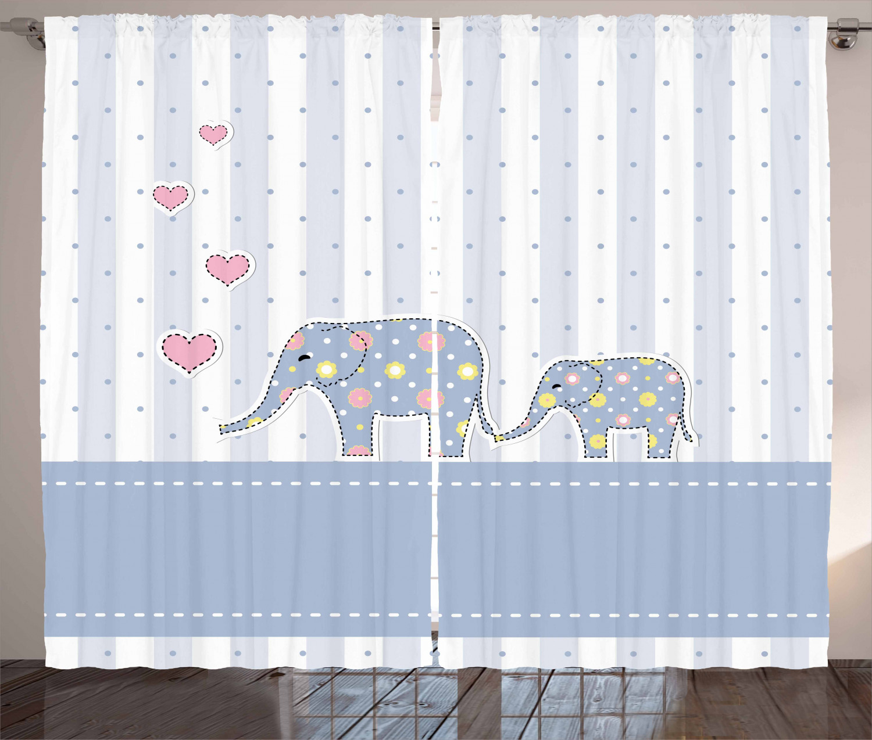 Elephant Nursery Decor Curtains 2 Panels Set Baby Shower Theme Cheerful Newborn Celebration Pastel Toned Striped Window D For Living Room
