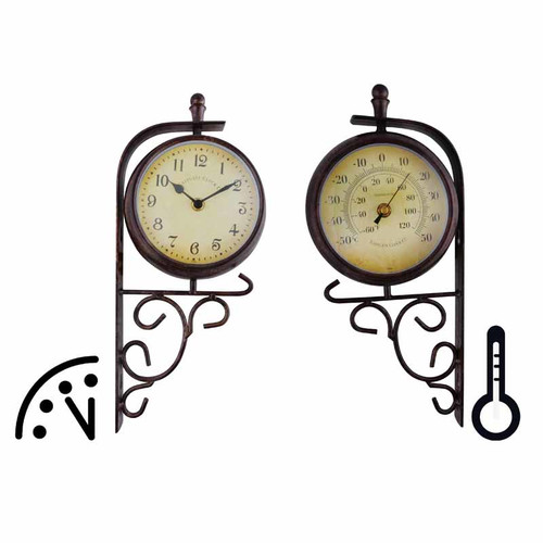 EsschertDesign World of Weather Plastic Double Sided Outdoor Clock and Thermometer