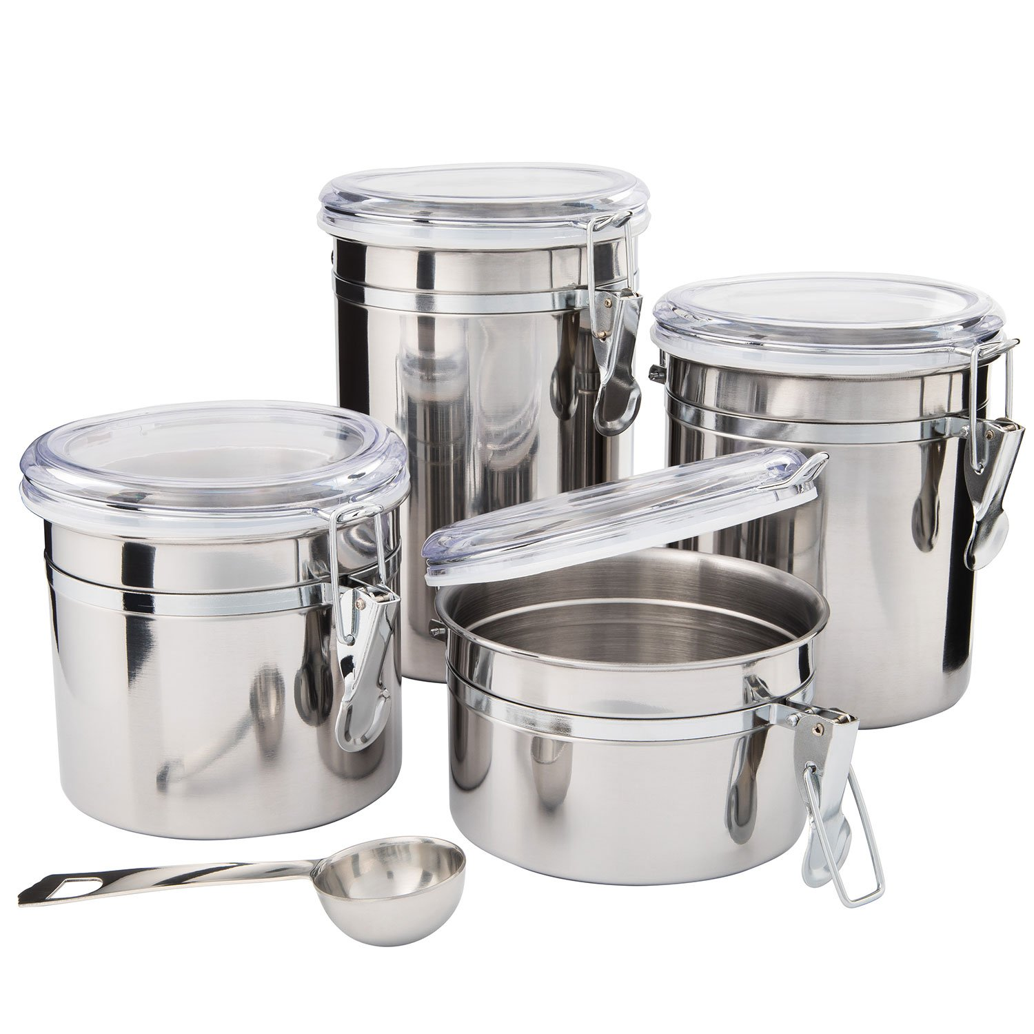 SilverOnyx Kitchen Canisters Stainless Steel   4pc Set