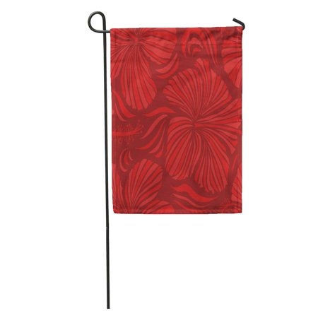 NUDECOR Aloha Hawaii Luau Party Red and Orange Hibiscus Flowers Best Garden Flag Decorative Flag House Banner 12x18 inch - image 2 of 2